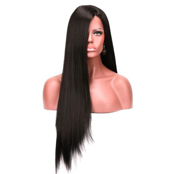 Heat Resistant Silky Straight Synthetic Lace Front Wig Long Black Wigs For African American Women
