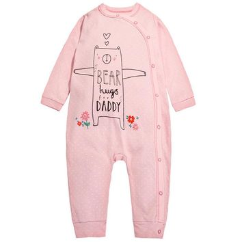 y349 Free shipping Autumn new cotton baby clothes girls long-sleeved Romper open buckle Pink Teddy Bear pattern