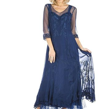 Nataya CL-068 Celine Vintage Style Gown in Royal Blue