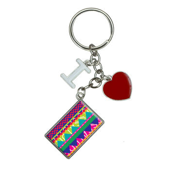 Southwestern Hipster Colorful Pattern I Heart Love Keychain