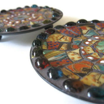 Ring Dish Candle Holders Trinket Holder Mosaic Art Home Decoration Broken China Metal Plate