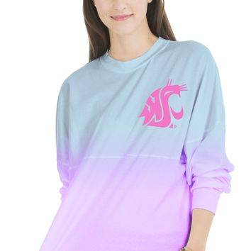 Official NCAA Washington State University Cougars WSU Tri Cities Women's Long Sleeve Ombre Spirit Wear Jersey T-Shirt