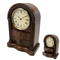 Clock Collection Teak Wood Clock with 2 Drawers - Reconditioned