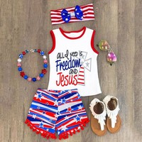 USA 4th of July 3PCS Kids Baby Girl Boy Toddler Top Vest+Pants Shorts Outfit Set