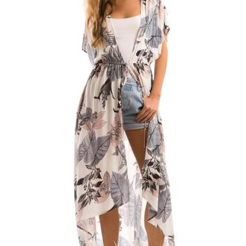 Floral Challis Front Tie High-low Hem Open Dress
