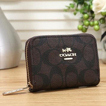 Coach Fashion Leather Zipper Purse Wallet