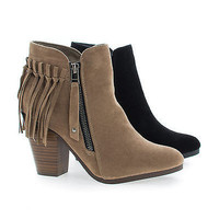 Gail26 Cowgirl Back Fringe Zip Up Chunky Stacked Heel Ankle Boots