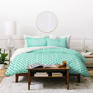 Allyson Johnson Minty Blue Polka Dots Duvet Cover