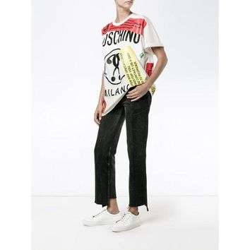 """Moschino"" Fashion Personality Multicolor Letter Print Loose Short Sleeve Women Casual T-shirt Tops"