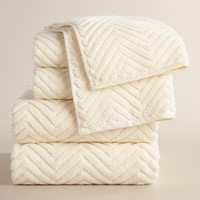 Ivory Chevron Spa Towel Collection