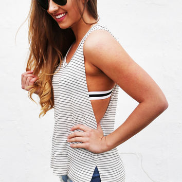 Do It Again Striped Hooded Tank