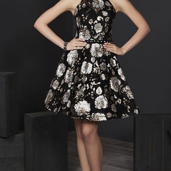 Tiffany Homecoming - 27241 Floral Sequined Halter A-line Dress