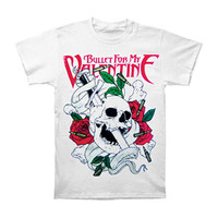 Bullet For My Valentine Men's  Sword Skull Slim Fit T-shirt White Rockabilia