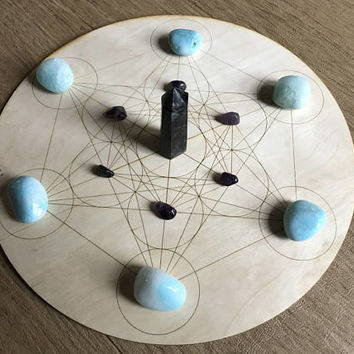 Crystal Grid - Metatron's Cube - 6 or 12 Inches - Birch Wood