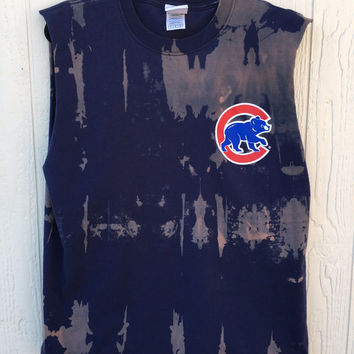 Grunge, Chicago Cubs tank top...bleach tie dyed # 25