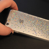 Iphone 6 Clear Glitter Stars Phone Case, Silver Holographic Glitter Iphone 6 Plus Case, Iphone 5 s 5c, Iphone 4 s, Galaxy S4 S5 S6 Edge Case