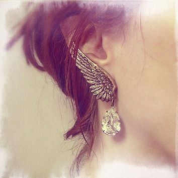New Retro Exaggerated Personality Angel Wings Water Droplets Ear Clip