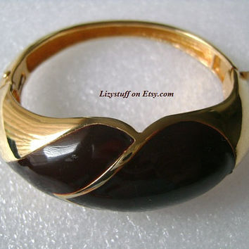 High-End Designer LANVIN PARIS Stylish and Classy Gold Tone With Burgundy or Red Wine Color Lucite Modernist Bangle Bracelet, Make an Offer!