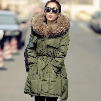 Large Real Fur 2017 Winter Jacket Women White Duck Down Parka Jackets Natural Raccoon Fur Collar Female Winter Coat Women Parkas