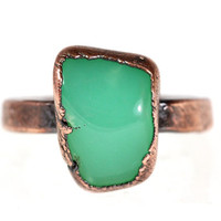 Raw Crystal Ring Chrysoprase Ring Mineral Jewelry Healing Stone Ring Raw Crystal Jewelry Green Gemstone Ring Size 7 1/2 Size 7.5