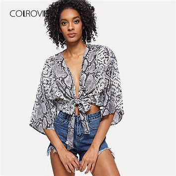 COLROVIE Knot Front Snake Skin Print V Neck Sexy Kimono Women Blouse Shirt Half Sleeve Vacation Blouse And Tops