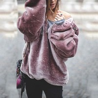 Fashion Awesome Purple Warm Soft Tops Winter Hoodies [106350772239]