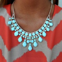 Diamond Detailed Necklace In Mint