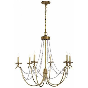 Visual Comfort and Company CHC1415AB-SG Antique Brass Marigot Six-Light Chandelier