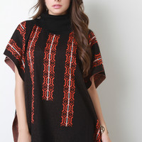 Knit Tribal Turtleneck Poncho Top