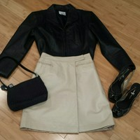 **Fendi Leather Reversible Wrap Skirt** Sz 40