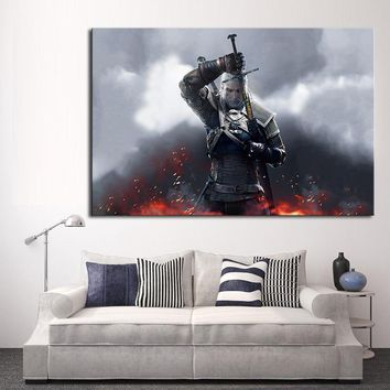 Modern Wall Art Oil Painting Print On Canvas The Witcher Wild Hunt Game Magic Sword Fire Home Decor Postes and Prints No Frame