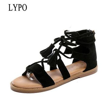 LYPO Summer Sandals Women Genuine Leather Cross-strap Women Shoes 2018 New students wild retro casual shoes Gladiator sandals