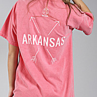 charlie southern: state arrow comfort colors tee - arkansas [watermelon]