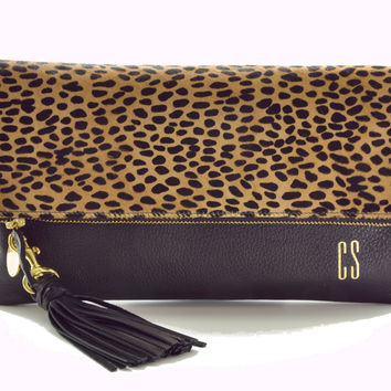 Leopard Patterned Monogram Clutch Bag
