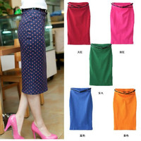 Candy Color Pencil Midi Skirt with Belt