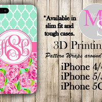 Monogram iPhone Case Personalized Phone Case Lilly Pulitzer Inspired Monogrammed iPhone Case, Iphone 4S, Iphone 4 iPhone 5S, iPhone 5C #2257