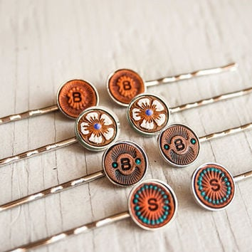 Custom leather hair pins - personalize with initials - Set of 2 - choose your favorite pattern - bobby pins, hair clips