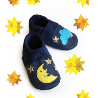Stars Night Leather Baby Booties, Baby Shoes, Moon Infant Newborn Children Blue Gold Yellow