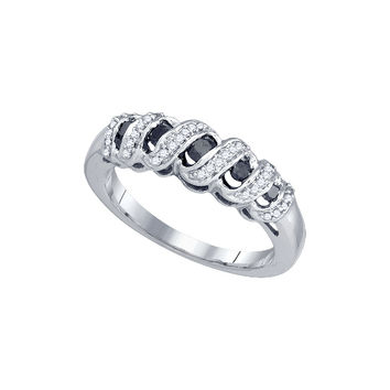 10k White Gold Womens Black Colored Round Pave-set Diamond Crossover Wraparound Band Ring 1/3 Cttw