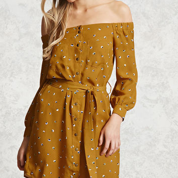 Floral Button-Front Mini Dress