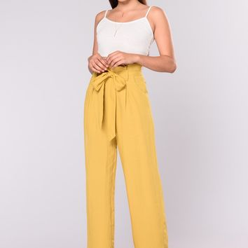Street Ready High Waist Pants - Mustard