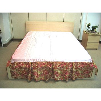"Sunrise Hibiscus Shiny Solid Pink & Brown Red Floral Dust Ruffle Pleated Bed Skirt - 14"" Drop  (BS-BM465L-1)"