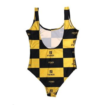 WOMENS FF BOX YELLOW/BLACK SWIM SUIT