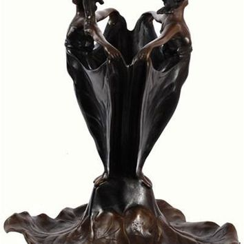 Two Ladies Forming a Flower Vase, Lost Wax Bronze Metal 10H