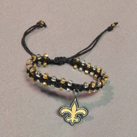 New Orleans Saints Macramé Bracelet