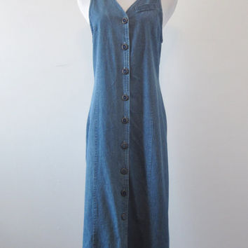 Vintage 80s Denim Maxi Dress Long Sleeveless Denim Dress Buckle Back USA Womens 8 Summer Dress Button Front Coverup Hunt Club