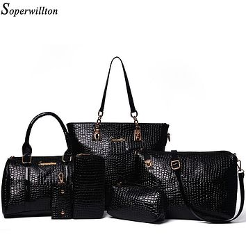 Soperwillton Brand New 2016 Bags Women Shoulder Bag Soft Composite Bag PU Leather Black Purses and Handbags Drop Shipping #2001