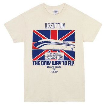 Led Zeppelin Only Way To Fly Band Logo Licensed Adult Unisex T-Shirts - Cream