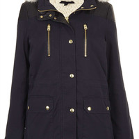 Fur Trim Borg Lined Short Parka - Jackets - Clothing - Topshop