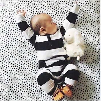 2018 new style baby clothing baby boy clothes cute stripe Long sleeve baby Romper climbing newborn clothes infant clothing set